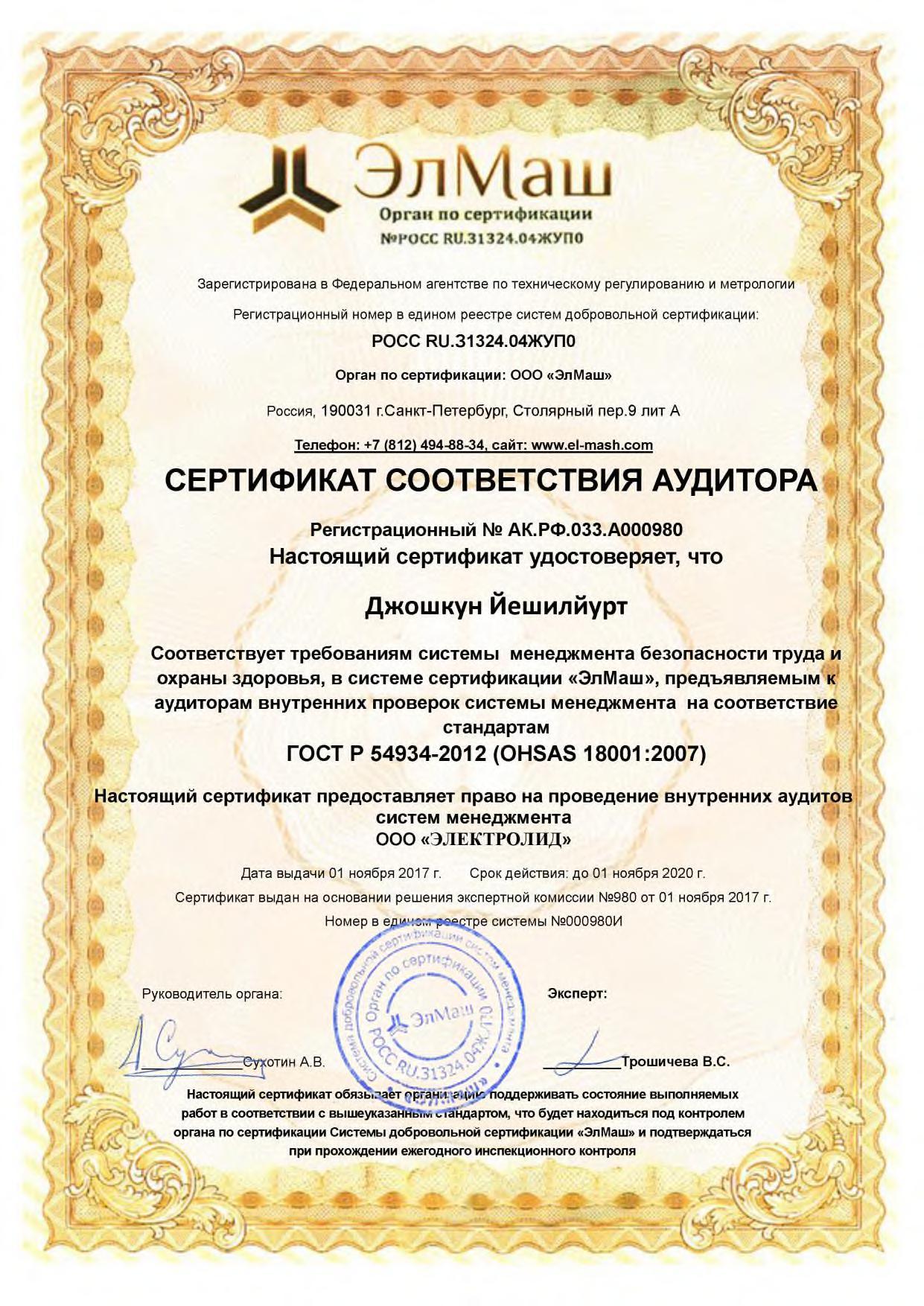 Сертификат соответствия аудитора Джошкун Йешилйурт на проведение внутренних аудитов
