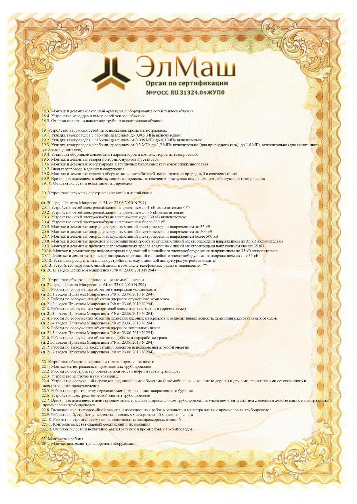 Сертификат соответствия Приложение стр 3