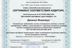 Сертификат соответствия аудитора Джошкун Йешилйурт аудитор внутренних проверок